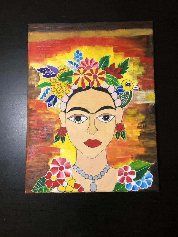 Acrylic-oil painting of Frida Kahlo
