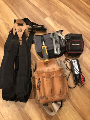 Misc tools, padded tool belt suspenders, leather ideal brand tool belt, wiggy electrical tester, MC cable stripper, Klein and husky tool bag, ratchet for Sale in Knoxville, TN