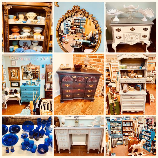 Hand painted furniture, vintage Pyrex and upcycled home decor