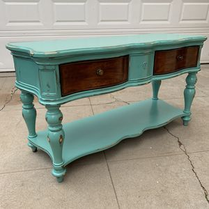 Awesome green and raw wood shabby distressed side entryway table side table cabinet drawer shelf for Sale in San Diego, CA