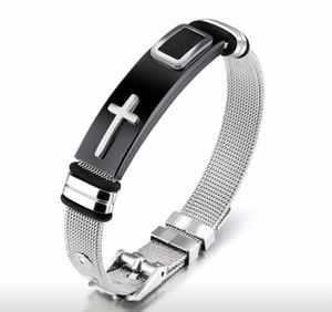 Top Quality Men Punk Cross Wristband Bangle Punk Titanium Steel Band Bracelet for men and women for Sale in Riverside, CA