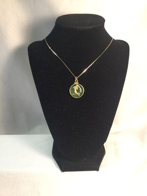14k & Jade Aquarius pendent and gold chain necklace for Sale in Portland, OR