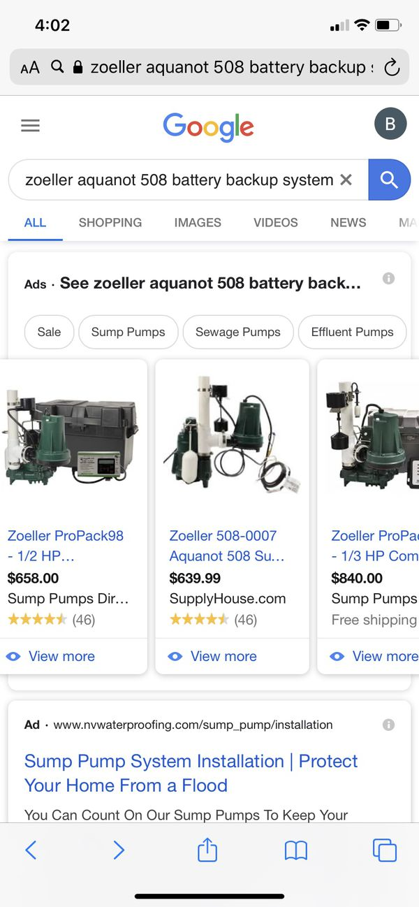 Zoeller battery back up sump pump system