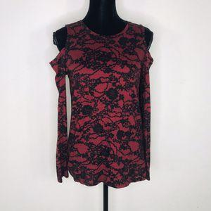 MICHAEL Michael Kors Red Black Cold Shoulder Blouse Size Medium for Sale in El Cajon, CA