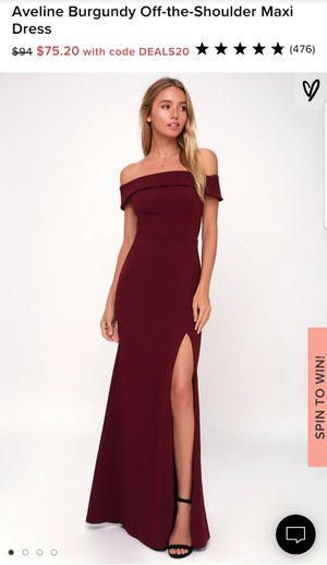 Lulus Aveline Off Shoulder Maxi Dress Burgundy for Sale in Rosemead, CA