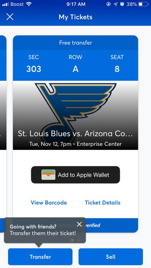 Blues tickets *tonights game* for Sale in St. Peters, MO