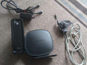 Belkin router (N300 wireless N router) + Motorola Modem Surfboard SB6121 for Sale in Vienna, VA