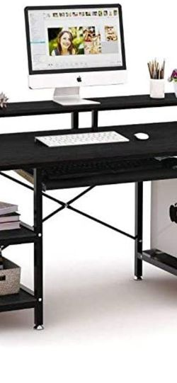 Computer Desk with Storage Shelves/Keyboard Tray/Monitor Stand Desk with Bookshelf Easy Assemble Study Table for Home Office (Black) for Sale in Seattle,  WA