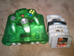 Jungle green N64 ,official controller and 7 games for Sale in Norfolk, VA