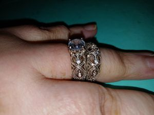 Filigree silver white sapphire ring set for Sale in Cleveland, TN