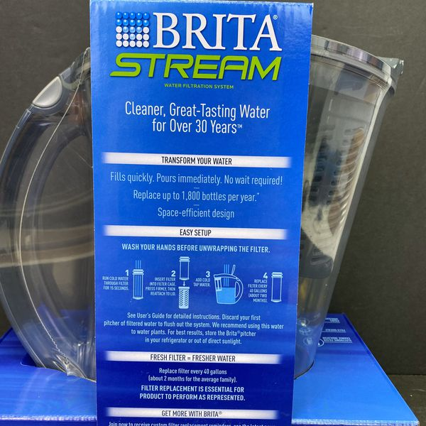 Brita Stream Filter As You Pour Water Pitcher 10 Cups New