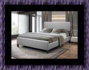 Grey platform bed with mattress for Sale in Fairfax, VA