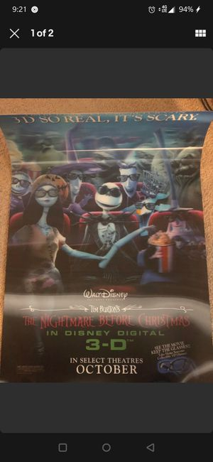 *RARE* NIGHTMARE BEFORE CHRISTMAS LENTICULAR MOVIE POSTER for Sale in Los Angeles, CA