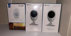 Two EZVIZ Mini O Security Cameras w/ tp link smart WiFi plug for Sale in Alexandria, VA