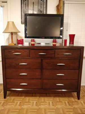 """Nice solid wood modern big dresser/TV stand/ buffet with 9 drawers in very good condition, all drawers sliding smoothly. L60""""*W18.4""""*H42"""" for Sale in Annandale, VA"""