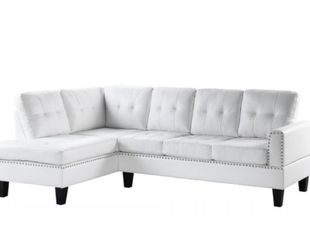 New white Leather Nailhead Sectional Couch Only $50 Down Payment for Sale in Los Angeles,  CA