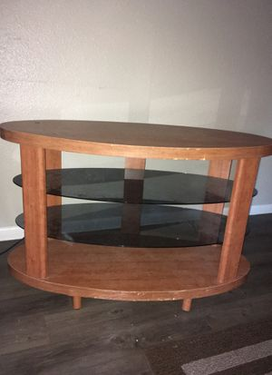 Wood and glass tv stand for Sale in Austin, TX