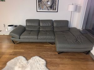 Italian Gray Leather Sectional Couch $6,999 Retail for Sale in PECK SLIP, NY