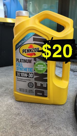 Pennzoil platinum 10-30, 5-30, 5-20 and 0-20 full synthetic motor oil for Sale in Riverside, CA