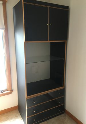 Black cabinet with three drawers, glass shelf & cabinet on top for Sale in Addison, IL