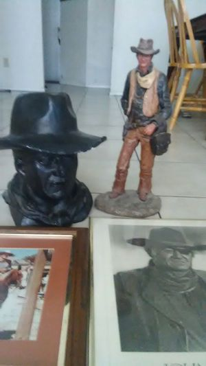 John Wayne pics and Only the black statue for Sale in Glendale, AZ