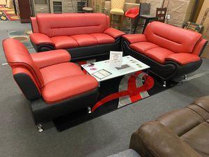 New!!! 3Pcs Black/Red Livingroom set • Available (Black)-(Brown)-(white/Black)• Make your order📲 • Free financing • No credit check for Sale in Las Vegas, NV