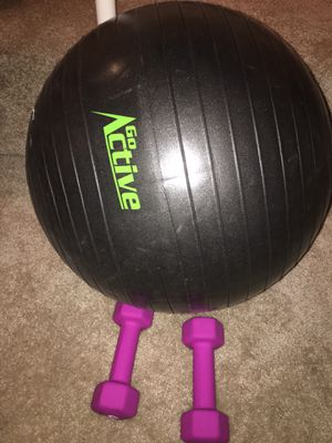 Stability ball (and manual air pump) + 5lb weights for Sale in Washington, DC