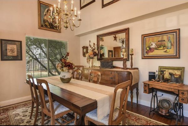Six chairs, round dining table and buffet