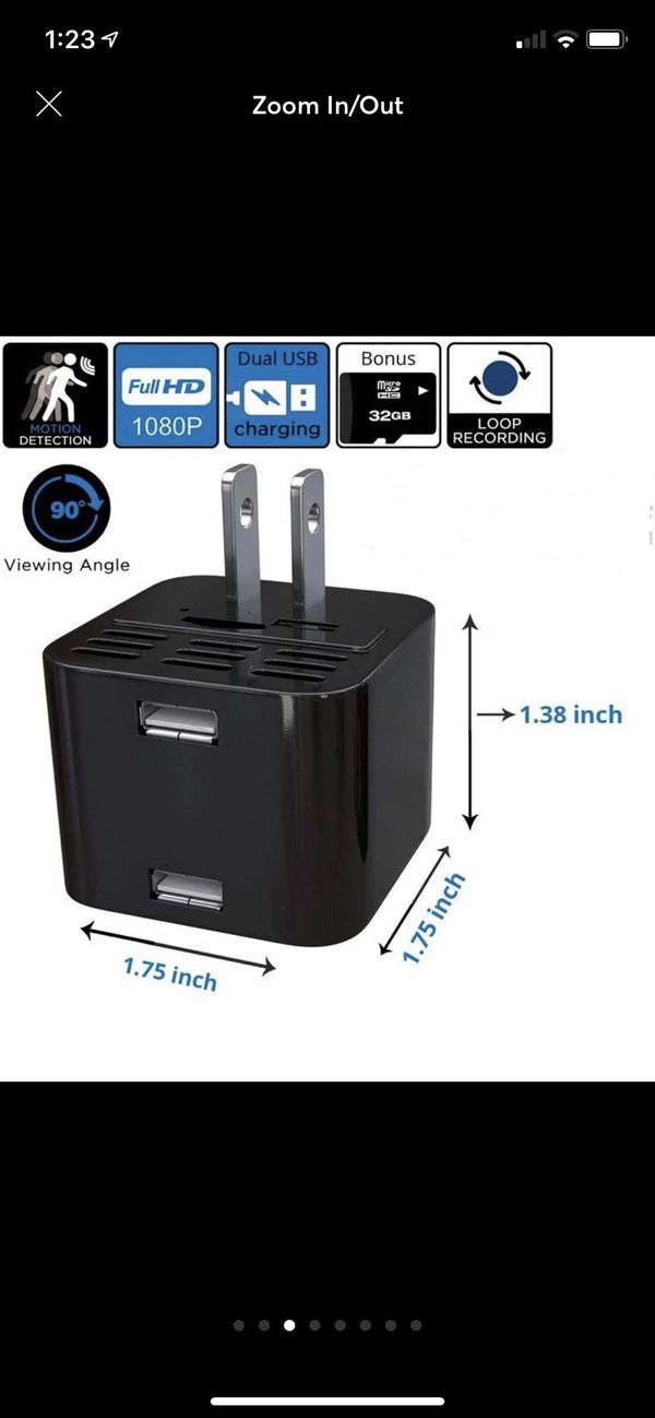 1080p with audio dual charger hidden spy camera