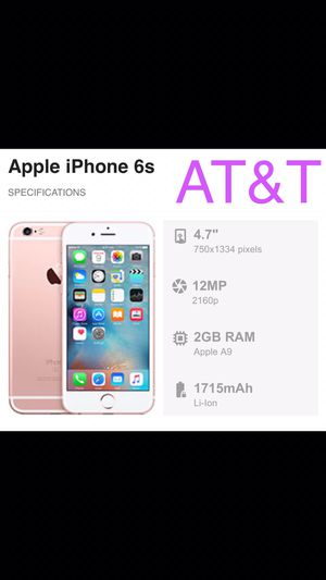 AT&T- rose gold iPhone 6s 32gb (good condition). Works great, no issues. Can also be use with Cricket/ H2O for Sale in San Francisco, CA