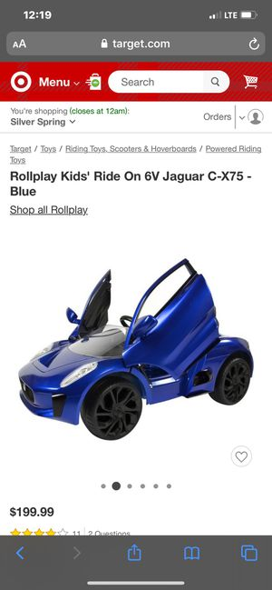 Rollplay Kids' Ride On 6V Jaguar C-X75 - Blue for Sale in Clarksburg, MD