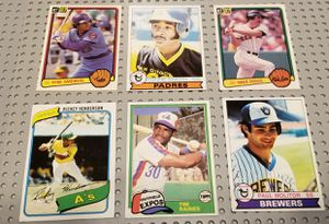 !!6 TOP BASEBALL ROOKIES!!RICKEY HENDERSON #482 ROOKIE with OZZIE SMITH/ SANDBERG &more for Sale in Glendora, CA