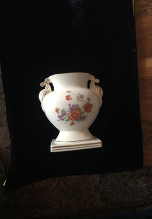 Beautiful flowers and trimmed in gold vase for Sale in Alexandria, VA