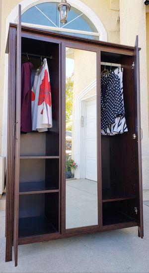 Absolutely BEAUTIFUL Ikea 3 Door Door Mirrored Mirror Closet Wardrobe + 2 Clothes Rods + Shelves INCLUDED for Sale in Monterey Park, CA