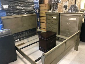 👉 $39 down payment 🥎 - 😴😴 Louis Philip Gray Sleigh Bedroom Set 😴😴 for Sale in Laurel, MD
