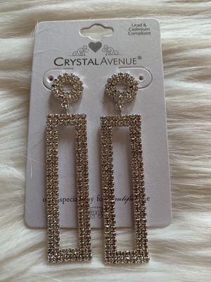 Silver diamonds earrings for Sale in Norwalk, CA