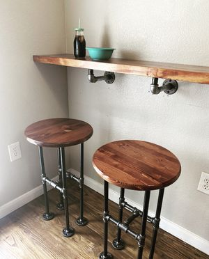 Solid Wood and Galvanized Pipe Industrial Farmhouse Style Bar Top Bar Stool Chair Seat Kitchen Table Seating Furniture Decoration for Sale in Houston, TX