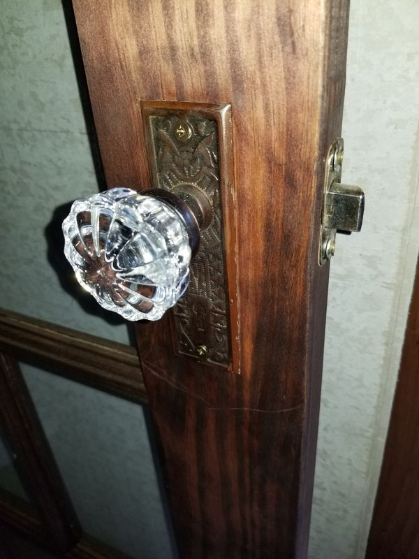 Wood French door with Antique hardware