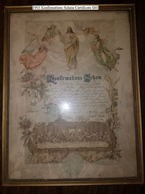 1903 Konfirmations Schein Certificate $80 for Sale in Dresden, OH