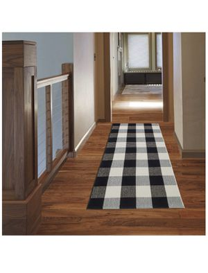 "NANTA Cotton Buffalo Plaid Check Rug 23.6"" x 51.2"" (2'x4.3') Black and White Checkered Washable Runner for Kitchen/Laundry/Bathroom/Bedroom/Farmhouse for Sale in Las Vegas, NV"