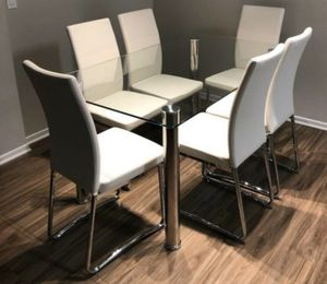 7pcs dining table set tempered glass/ white UP upholstery for Sale in Long Beach, CA