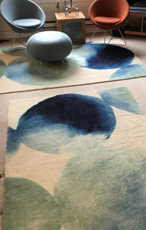 West Elm Rug Watercolor Circles 5x8 Seaglass blue for Sale in Seattle, WA