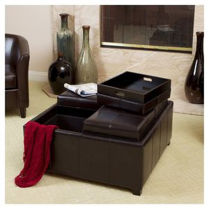 LEATHER OTTOMAN w/ REMOVABLE TRAYS for Sale in Pembroke Pines, FL