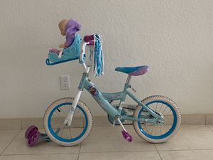 "Huffy Disney Frozen Kid Bike 14"" with balancing wheels for Sale in Golden Beach, FL"