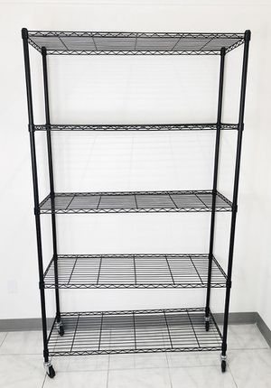 "$90 NEW Metal 5-Shelf Shelving Storage Unit Wire Organizer Rack Adjustable w/ Wheel Casters 48x18x82"" for Sale in Pico Rivera, CA"