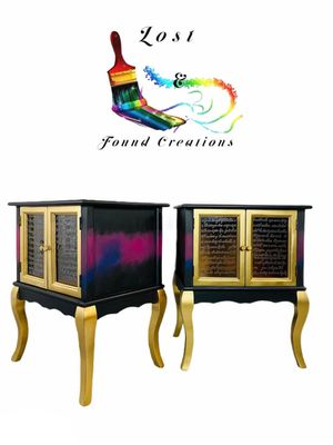 Two End tables/ boho side tables/ bedside tables/ nightstands/ hand painted tables/ bohemian furniture/ boho chic end tables/ boho tables/ for Sale in Dalton, GA