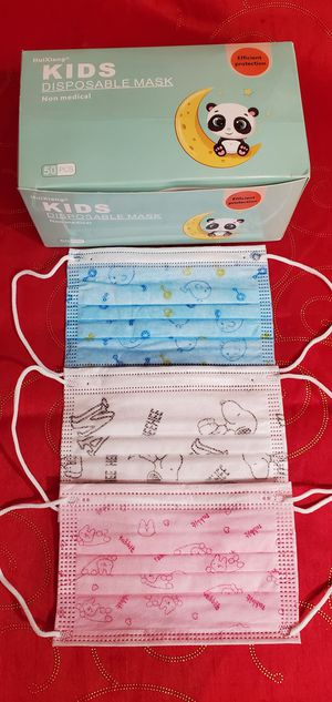 Disposable face mask Kids/ 3 patterns one box for Sale in La Puente, CA