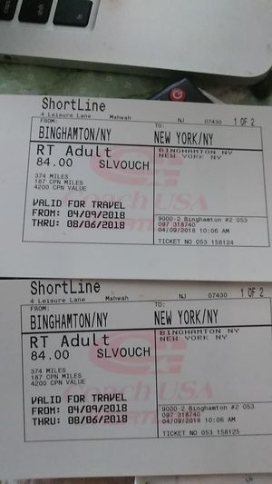 Two round trip bus tickets from Binghamron to NYC for Sale in Endicott, NY