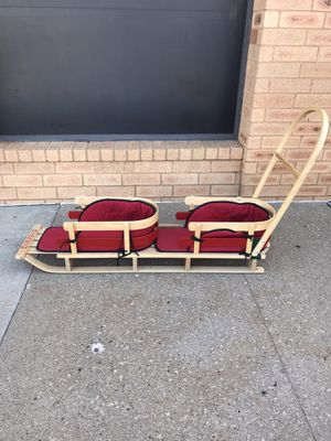 Large LL Bean Kid's tandem Wooden Pull Sled With Red Cushion Excellent Condition. for Sale in McKees Rocks, PA