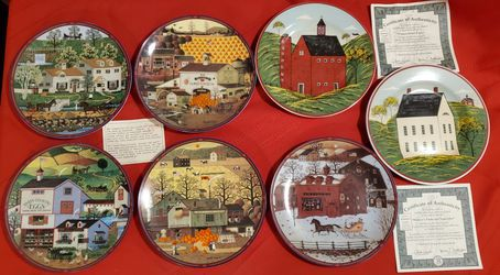 7 Vintage Charles Wysocki's Peppercricket Grove Collective Plates for Sale in Detroit,  MI